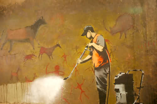Banksy - Cave Painting by badjonni