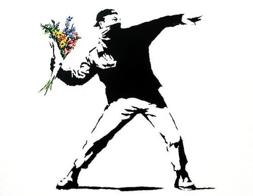 Banksy's Flower Chucker - Photo by David Boyle