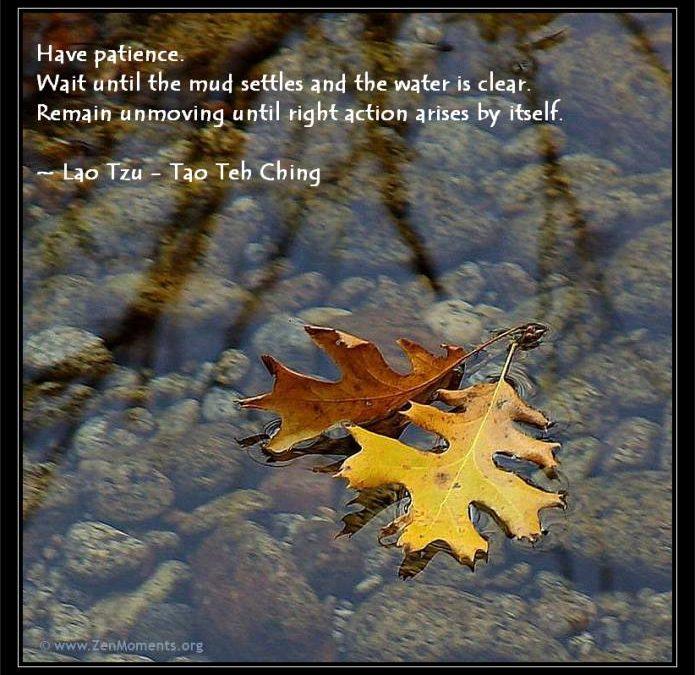 Have patience… Lao Tzu