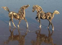 "Driftwood horse sculptures ""Icarus pair"" by artist Heather Jansch"