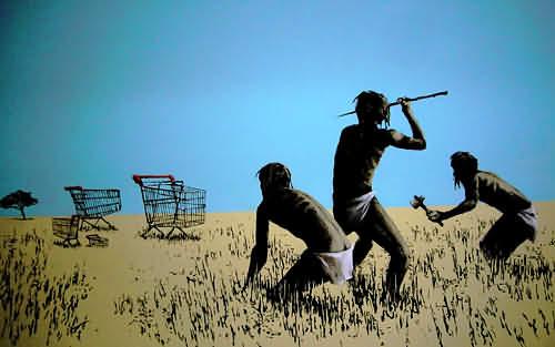 Hunting Shopping Trolleys - Banksy. Photo by Huasonic